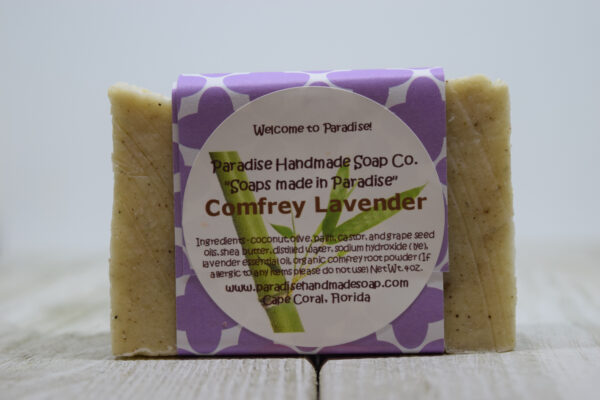 Comfrey Lavender handmade soap bar with label by Paradise Handmade Soaps.