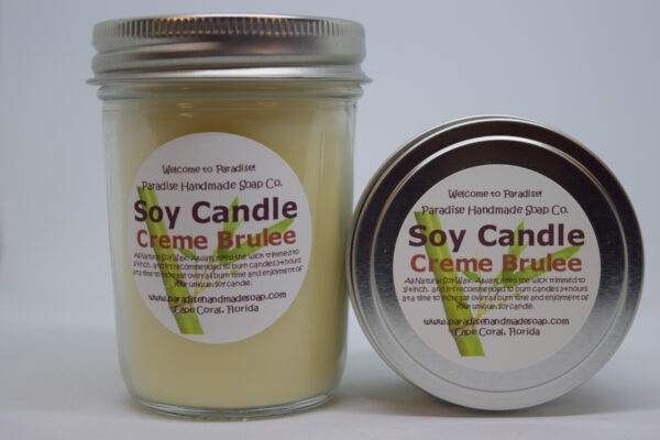 Creme Brulee Soy Candle by Paradise Handmade Soap.