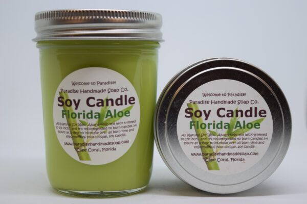 Florida Aloe Soy Candle by Paradise Handmade Soap.