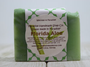 Florida Aloe handemade soap bar with label by Paradise Handmade Soaps.