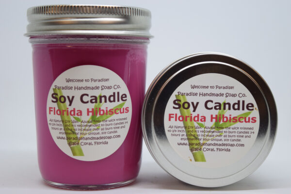 Florida Hibiscus Soy Candle by Paradise Handmade Soap.
