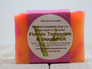Florida Tangerine & Grapefruit handmade soap bar with label by Paradise Handmade Soaps.