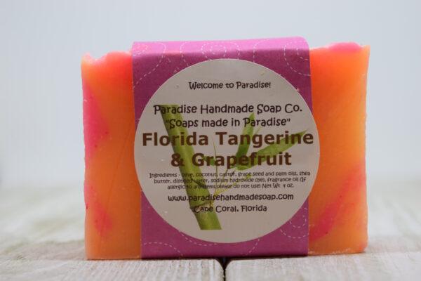 Florida Tangerine & Grapefruit handmade soap bar with label by Paradise Handmade Soaps.