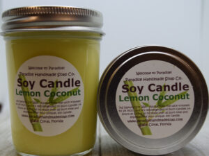 Lemon Coconut Soy Candle by Paradise Handmade Soap.