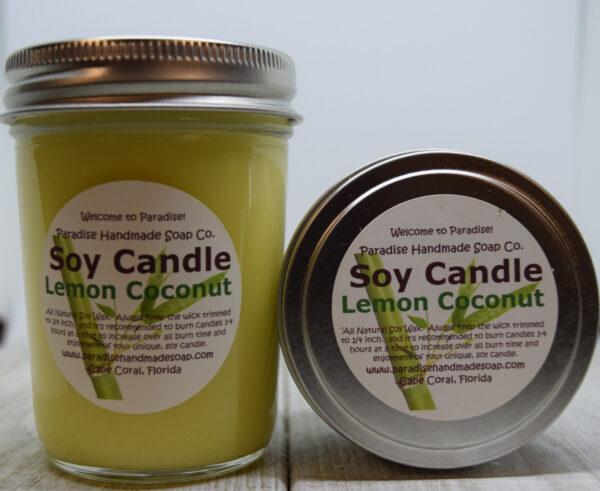 Lemon Coconut Soy Candle by Paradise Handmade Soap.