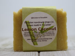 Lemon Coconut handemade soap bar with label by Paradise Handmade Soaps.
